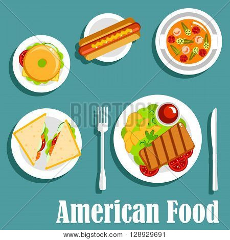 American cuisine dinner icon of homemade dishes with hot dog, bagel cheeseburger, grilled beef steak, served with potatoes and ketchup, salted salmon sandwiches and tomato seafood soup with shrimps and green chili. Flat style