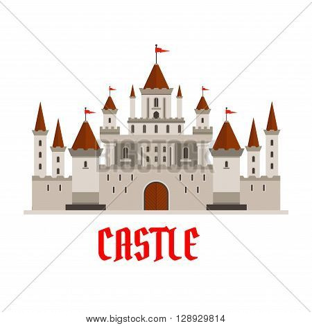 Fortified victorian medieval castle symbol for architecture, adventure and fairy tale design usage with elegant main keep with red flags on turrets, guarded by walls with battlements and watchtowers