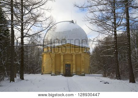Pavilion 26-inch refractor of the Pulkovo astronomical observatory, february day. Saint Petersburg, Russia