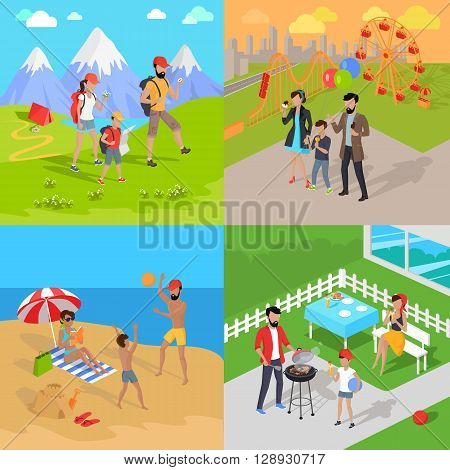 Family holiday barbecue and amusement park. Family dad mom and child spend vacation. Relax on beach, mountain tourism, prepare barbecue in yard and walk in park attractions. Vector illustration