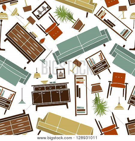 Retro pattern of colorful household furnishing with seamless flat illustrations of soft and cabinet furnitures, interior accessories and lamps, randomly scattered over white background. Great for wallpaper or scrapbook page backdrop design usage