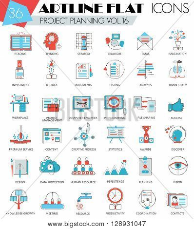 Vector project business planning ultra modern outline artline flat line icons for web and apps