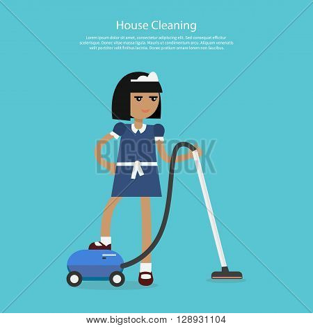 House cleaning template web page. Young girl or woman working in a maid uniform cleans with a vacuum cleaner isolated on background flat style. Home cleaning services  Vector illustration