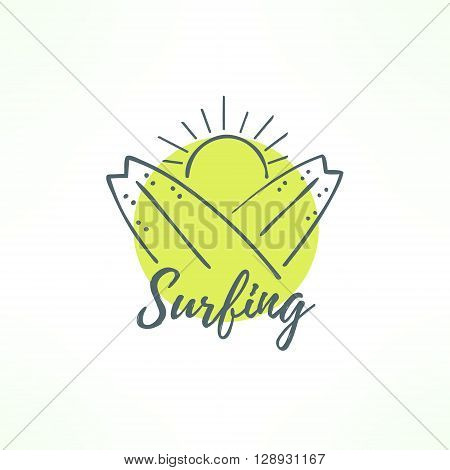 Surfing logo made in hand drawn design. Surf icon in thin uneven lines. Surfing boards crossed and the sun.