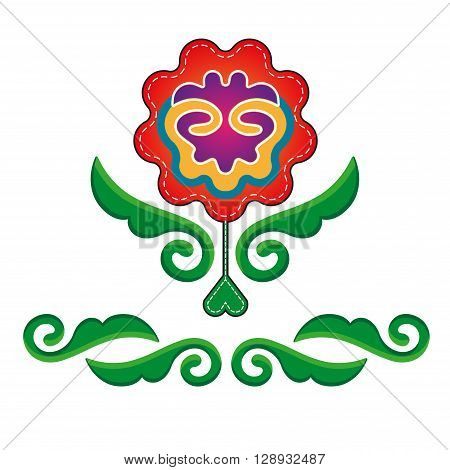Tatar ornament with red flowers and leaves