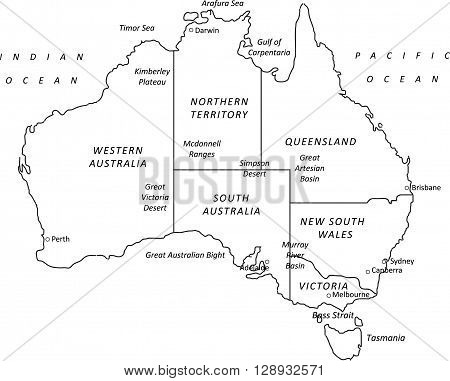 A detailed black outline map of Australia on a white background. Includes states & major cities. Vector illustration may be edited and re-sized without loosing quality. Ideal as a teaching or tourism resource.