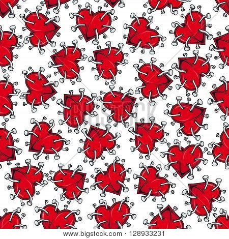 Cartoon seamless pattern of broken hearts for unhappy love, healthcare and scrapbook page backdrop design with bright red heart pierced by iron nails with curved heads on white background