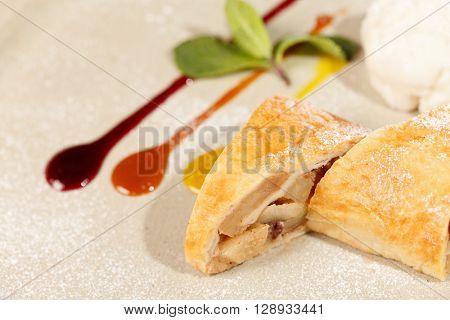 apple strudel with vanilla ice cream