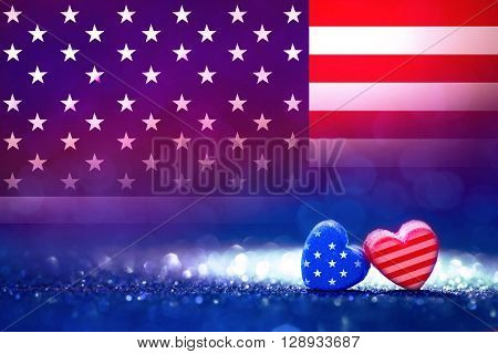 American flag Heart shapes on abstract light glitter background concept for 4th July Independence day