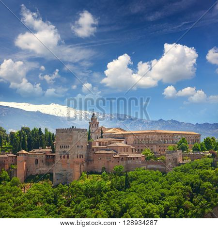 View of the Ancient arabic fortress Alhambra, Granada, Spain, European travel landmark