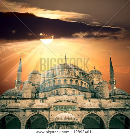 Amazing view of Blue Mosque with sun and  sunbeams, Istanbul, Turkey - big size