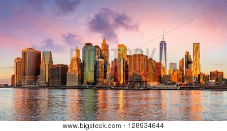 New York City Panorama - Manhattan and business district at the early morning, gentle sun colors,  big size