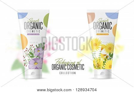 Body care products. Brand concept of organic cosmetics. Summer Series with flowers. Vector pattern. Abstract brand for adaptations. Realistic cosmetic packaging isolated on white background.
