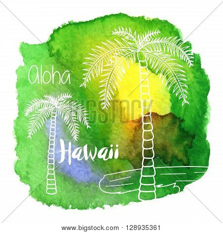 Palm trees Aloha Hawaii on abstract hand painted watercolor blot. Yellow orange green and blue banner flyer. Colorful vector template. Tropical summer graphic design for woman t shirt.