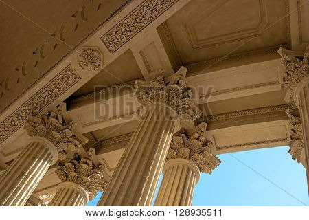 Kazan Cathedral -Cathedral of the Kazan Icon of the Mother of God-. Saint Petersburg, Russia. Portico of the cathedral.