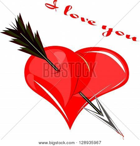 heart pierced by an arrow valentine. I love you .