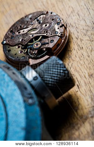Closeup Of Pocket Watch Mechanism And Clockworks