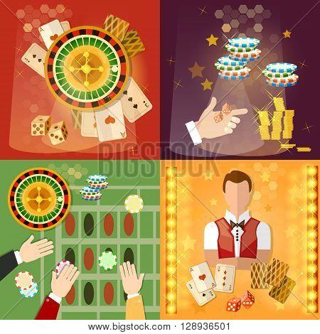 Casino and gambling set casino games symbols croupier vector illustration