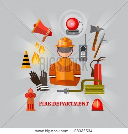 Professional firefighters equipment fireman fire safety vector illustration