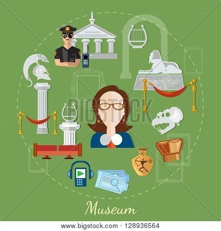 Museum tour guide science exposition ancient civilizations vector illustration