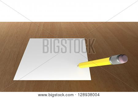 pencil and white blank paper on wooden table 3D Rendering