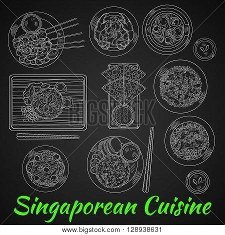 Singaporean dinner chalk sketch on blackboard with chicken rice and chilli crab, flat bread with tartar sauce, grilled beef satay and fried rice with chicken liver, spicy noodle soup and vegetable salad with beans, nasi goreng and fried noodles with shrim