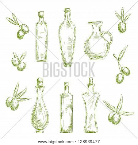 Retro sketch drawings of wholesome organic olive oil in decorative figured glass bottles with cork stoppers and old fashioned jug, flanked by fresh olive fruits. Agriculture or healthy nutrition theme design usage