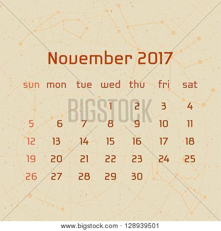 Vector calendar for 2017 in the retro style. Calendar for the month of November with the image of the constellations on beige scratched background. Elements for creative design ideas of your calendar