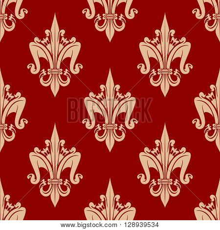 Decorative stylized fleur-de-lis pattern with delicate beige seamless ornament of french royal heraldic lilies over bright red background. May be use as vintage interior or wallpaper design