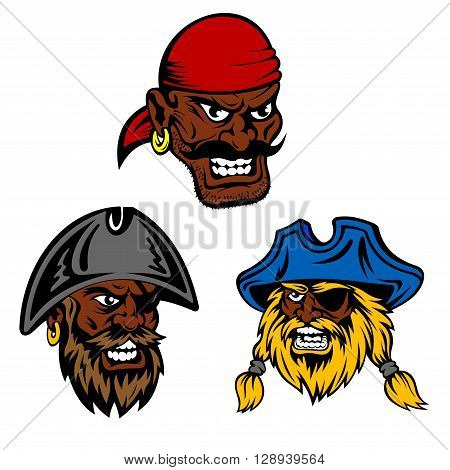 Dangerous pirates crew characters. Dark skinned pirate captain and boatswain with shaggy beards wearing vintage hats and eye patches and moustached angry gunner in red bandana