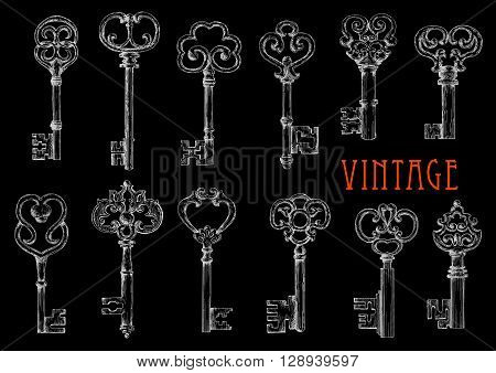 Chalk sketches of vintage victorian skeleton keys on blackboard. Door lock keys with openwork ornamental bows