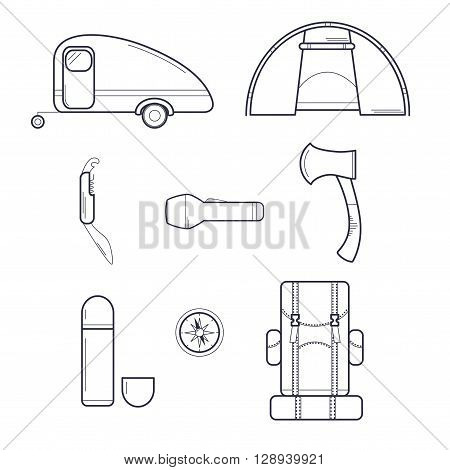 Camping Vector Icons/ Set of Camping and Tourist Equipment