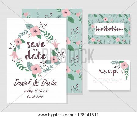 Set of wedding invitation floral cards and r.s.v.p.