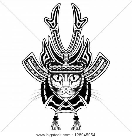 Samurai cat. Black and white version isolated on white.