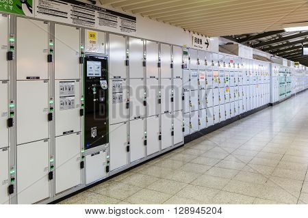 Tokyo Japan - April 12 2016: Coin operated lockers in Japan. Public locker can be found widely available at subway stations and bus stations in Japan.