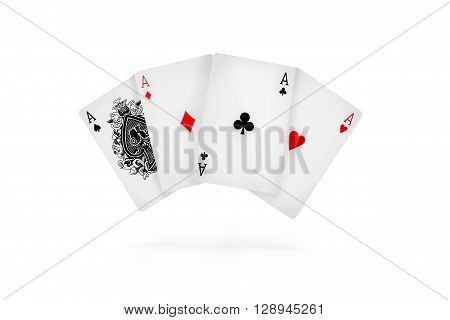 Four aces isolated on white.  in the air
