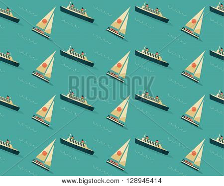 Seamless blue pattern with sailboats and vessels