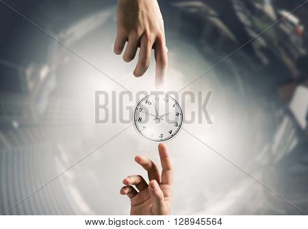 Businessman hand press clock time button icon
