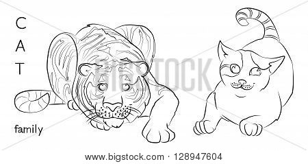 black and white image of a cat and tiger- suitable for a child's coloring and not only. For your convenience each significant element is in a separate layer.