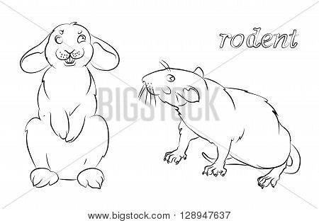 black and white image of a rabbit and rat- suitable for a child's coloring and not only. For your convenience each significant element is in a separate layer.