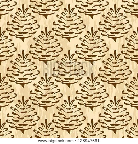 Seamless Floral Ornament, Brown Outline Pictogram Cones of Coniferous Tree on Abstract Background. Vector
