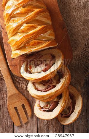Venezuelan Cuisine: Christmas Loaf Pan De Jamon Close-up. Vertical Top View