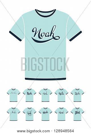 Personal name Noah. Vector handwritten calligraphy T-Shirt design set