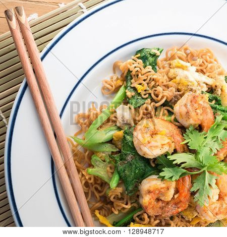 Fired Instant Noodle Shrimp.