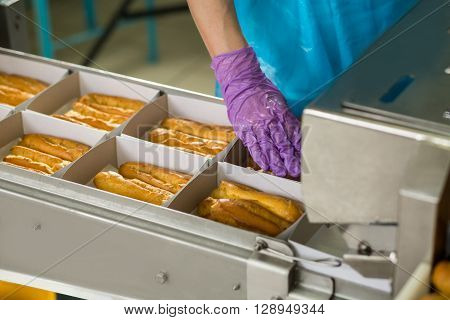 Eclair shell boxes on conveyor. Hand touching box with eclairs. Hand of confectioner in glove. Keep the standard of quality.