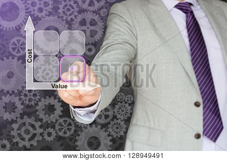 Businessman in a grey suit taps on the square with the lowest cost and the highest value in a cost-value matrix