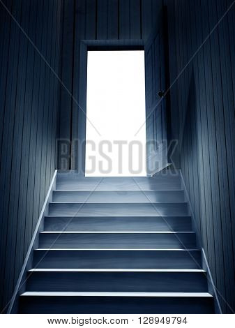 Steps leading from a dark basement to open the door. 3d render