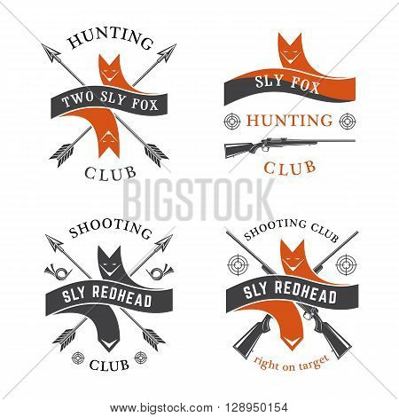 Hunting club Sly Fox vector emblems set.