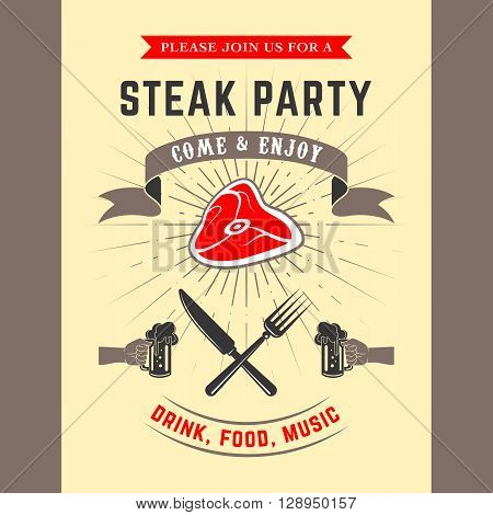 Steak party vector invitation card. Template for invitation card or flyer.