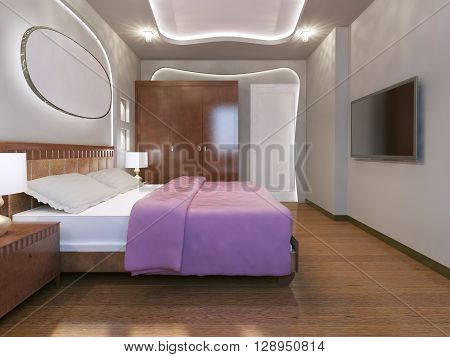 Bright bedroom modern style with neon lights. 3D render